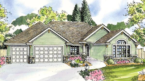 Contemporary, Cottage, Craftsman, European, Ranch House Plan 59782 with 3 Beds, 3 Baths, 3 Car Garage Elevation