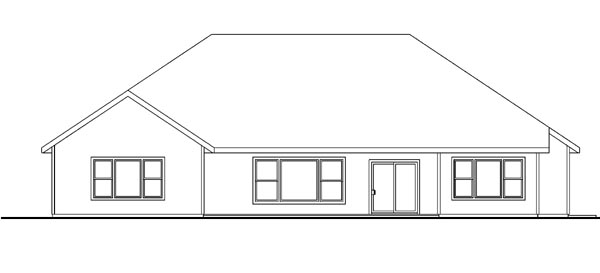 Contemporary, Cottage, Craftsman, European, Ranch House Plan 59782 with 3 Beds, 3 Baths, 3 Car Garage Rear Elevation