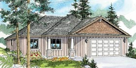House Plan 59783 | Contemporary Cottage Country Craftsman Ranch Style Plan with 1507 Sq Ft, 3 Bedrooms, 2 Bathrooms, 2 Car Garage Elevation