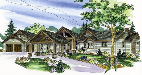 Contemporary Craftsman Ranch House Plan 59785 Elevation