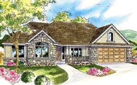 House Plan 59787 | Cottage European Ranch Style Plan with 2828 Sq Ft, 3 Bedrooms, 3 Bathrooms, 2 Car Garage Elevation