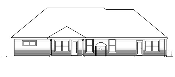 House Plan 59787 | Cottage European Ranch Style Plan with 2828 Sq Ft, 3 Bedrooms, 3 Bathrooms, 2 Car Garage Rear Elevation