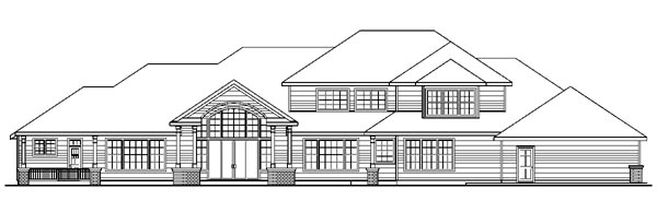 Traditional House Plan 59790 with 3 Beds, 5 Baths, 2 Car Garage Rear Elevation