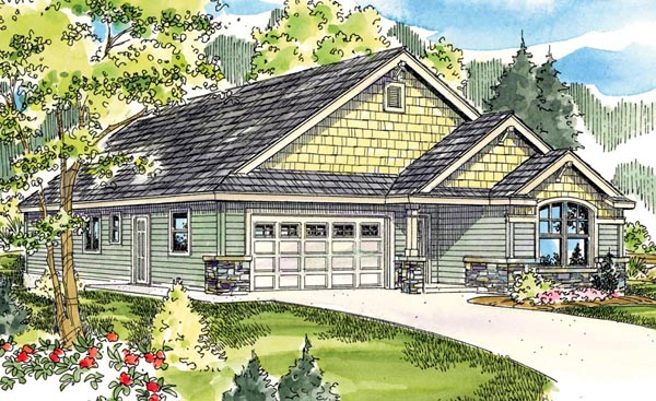 Cottage , Country , Craftsman , European House Plan 59791 with 3 Beds, 2 Baths, 2 Car Garage Elevation