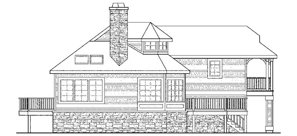 Cape Cod, Cottage, Country, European, Victorian House Plan 59792 with 3 Beds, 3 Baths Rear Elevation