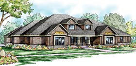 European , Southern , Traditional House Plan 59795 with 3 Beds, 5 Baths, 4 Car Garage Elevation
