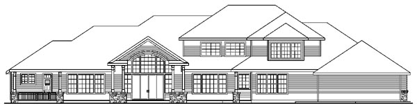 European , Southern , Traditional House Plan 59795 with 3 Beds, 5 Baths, 4 Car Garage Rear Elevation