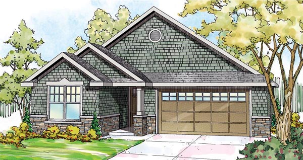 House Plan 59799 | Cape Cod Country Craftsman Ranch Style Plan with 1658 Sq Ft, 3 Bedrooms, 2 Bathrooms, 2 Car Garage Elevation