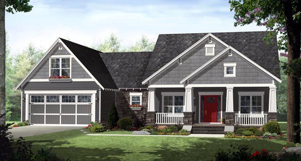 Cottage Country Craftsman Southern House Plan 59928 Elevation