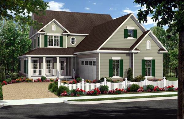 House Plan 59929 | Country, Farmhouse, Traditional Style House Plan with 2510 Sq Ft, 4 Bed, 3 Bath, 2 Car Garage Elevation