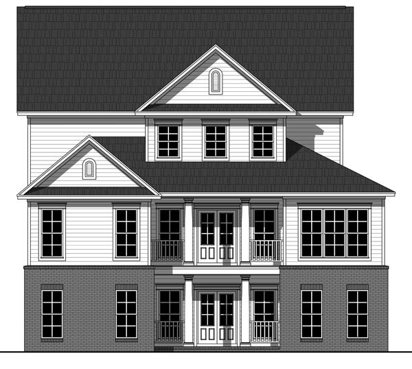 House Plan 59929 | Country, Farmhouse, Traditional Style House Plan with 2510 Sq Ft, 4 Bed, 3 Bath, 2 Car Garage Rear Elevation