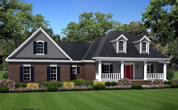 Country Farmhouse Southern Traditional House Plan 59932 Elevation