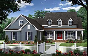 Country Farmhouse Southern Traditional House Plan 59934 Elevation