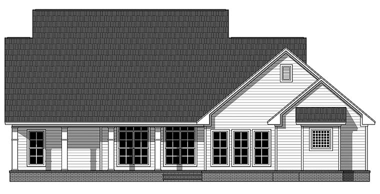 Country Farmhouse Southern Traditional House Plan 59934 Rear Elevation