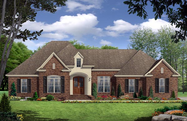 European , Traditional House Plan 59935 with 3 Beds, 3 Baths, 2 Car Garage Elevation