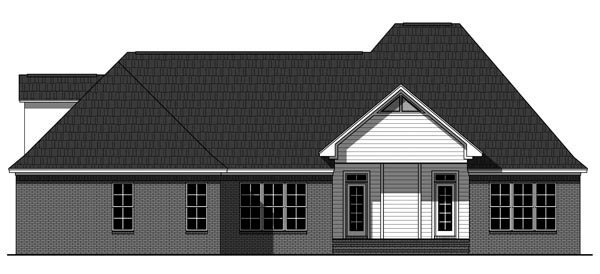 European , Traditional House Plan 59935 with 3 Beds, 3 Baths, 2 Car Garage Rear Elevation
