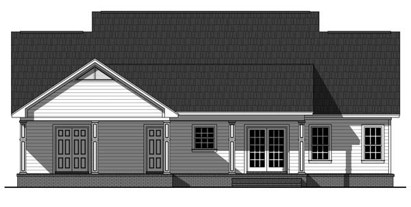 Traditional , Country House Plan 59936 with 3 Beds, 2 Baths, 2 Car Garage Rear Elevation