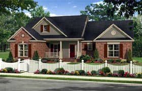 House Plan 59938 | Country, Farmhouse, Traditional Style House Plan with 1720 Sq Ft, 3 Bed, 2 Bath, 2 Car Garage Elevation