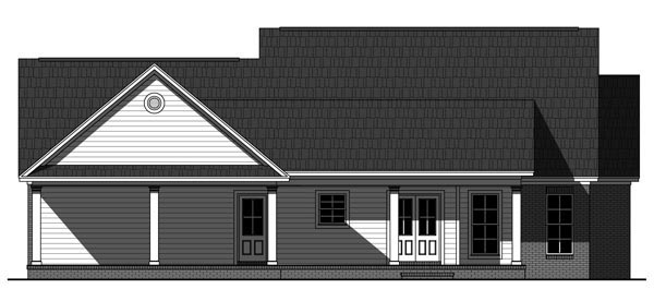 House Plan 59938 | Country, Farmhouse, Traditional Style House Plan with 1720 Sq Ft, 3 Bed, 2 Bath, 2 Car Garage Rear Elevation
