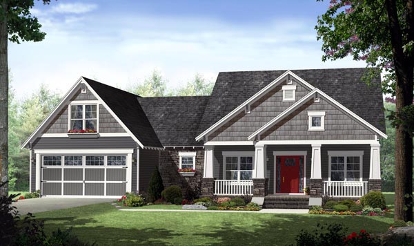Cottage Country Craftsman House Plan 59939 Elevation