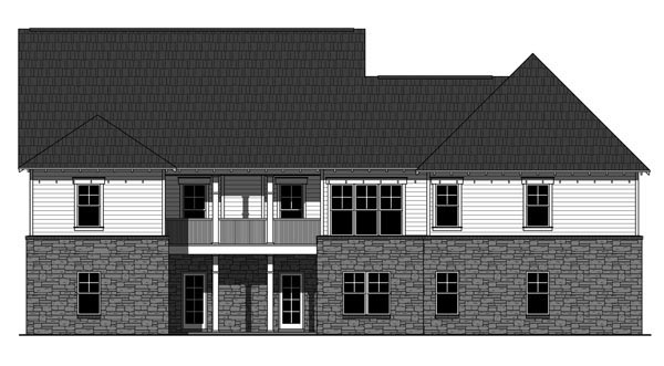 Cottage Country Craftsman House Plan 59939 Rear Elevation