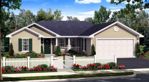 House Plan 59940 | Country Ranch Traditional Style Plan with 1310 Sq Ft, 3 Bed, 2 Bath, 2 Car Garage Elevation