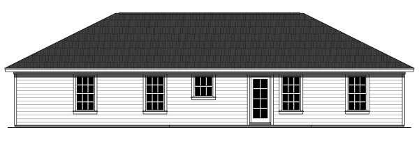 Country, Ranch, Traditional House Plan 59940 with 3 Beds , 2 Baths , 2 Car Garage Rear Elevation