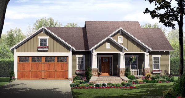 Bungalow , Craftsman , Elevation of Plan 59942