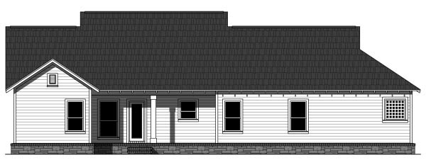 Bungalow , Craftsman , Rear Elevation of Plan 59942