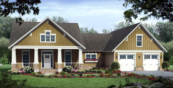 House Plan 59944 | Cottage Country Craftsman Style Plan with 1900 Sq Ft, 3 Bedrooms, 3 Bathrooms, 2 Car Garage Elevation