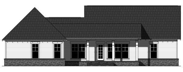 House Plan 59944 | Cottage Country Craftsman Style Plan with 1900 Sq Ft, 3 Bedrooms, 3 Bathrooms, 2 Car Garage Rear Elevation