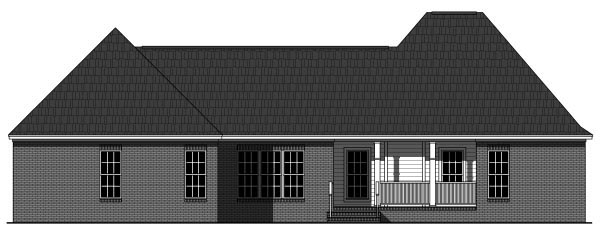 Cottage, European, Southern, Traditional House Plan 59946 with 3 Beds, 3 Baths, 2 Car Garage Rear Elevation