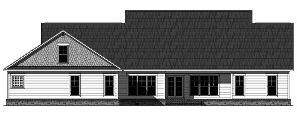 Craftsman , Country , Cottage , Rear Elevation of Plan 59947