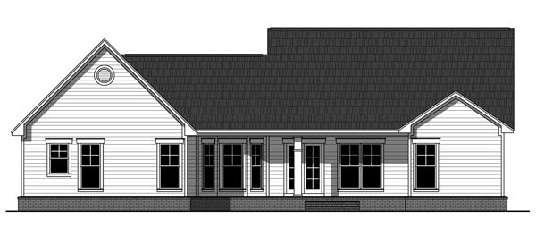 Country Craftsman Traditional House Plan 59950 Rear Elevation