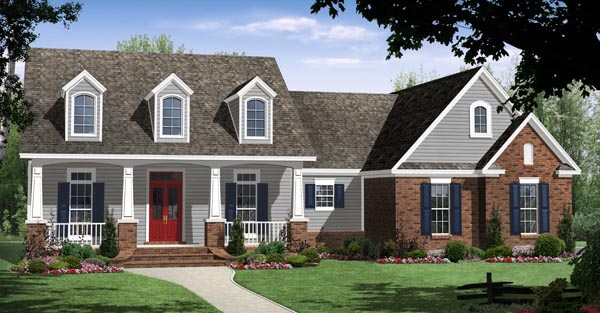Country, Craftsman, Traditional House Plan 59951 with 3 Beds, 2 Baths, 2 Car Garage Elevation