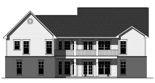 Country, Craftsman, Traditional House Plan 59951 with 3 Beds, 2 Baths, 2 Car Garage Rear Elevation