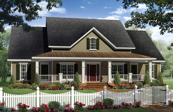 Country, Farmhouse, Traditional House Plan 59955 with 4 Beds, 4 Baths, 2 Car Garage Elevation