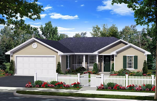 Country, Ranch, Traditional House Plan 59957 with 3 Beds, 2 Baths, 2 Car Garage Elevation