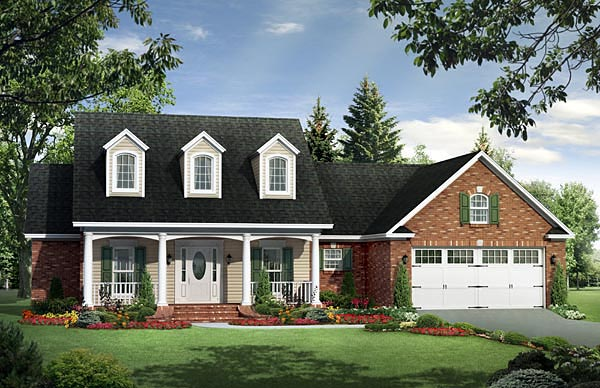Traditional , Farmhouse , Country House Plan 59958 with 3 Beds, 2 Baths, 2 Car Garage Elevation