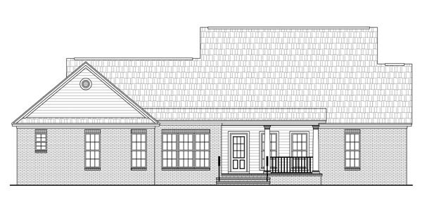 Traditional , Farmhouse , Country House Plan 59958 with 3 Beds, 2 Baths, 2 Car Garage Rear Elevation