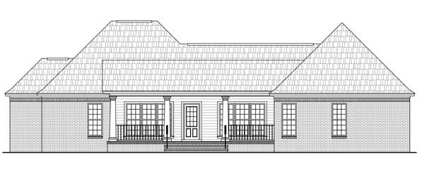 Country European Traditional House Plan 59959 Rear Elevation