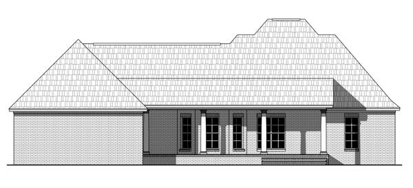 Country Farmhouse Traditional Rear Elevation of Plan 59960