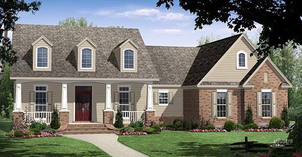 Country Craftsman Ranch Elevation of Plan 59961