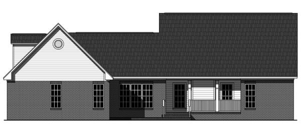 Country Craftsman Ranch Rear Elevation of Plan 59961