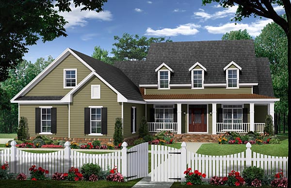 Cape Cod, Country, Modern Farmhouse, Traditional House Plan 59965 with 4 Beds , 3 Baths , 2 Car Garage Elevation