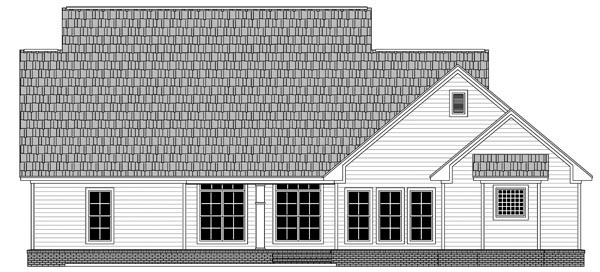 House Plan 59965 | Cape, Cod, Country, Farmhouse, Traditional Style House Plan with 2410 Sq Ft, 4 Bed, 3 Bath, 2 Car Garage Rear Elevation