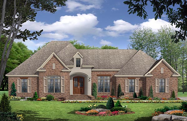 European, French Country, Traditional House Plan 59966 with 3 Beds, 3 Baths, 2 Car Garage Elevation