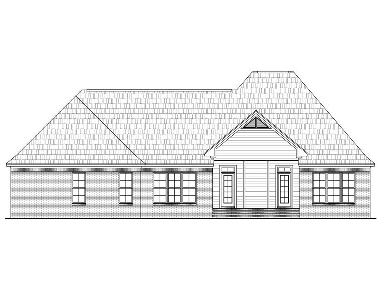 European, French Country, Traditional House Plan 59966 with 3 Beds, 3 Baths, 2 Car Garage Rear Elevation