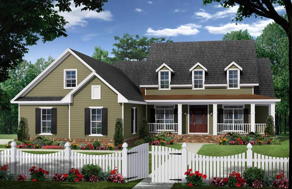 Country, Modern Farmhouse, Traditional House Plan 59967 with 4 Beds , 3 Baths , 2 Car Garage Elevation
