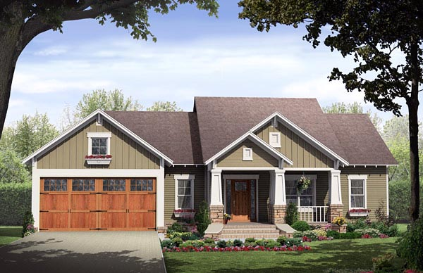 Cottage, Country, Craftsman House Plan 59968 with 3 Beds, 2 Baths, 2 Car Garage Elevation